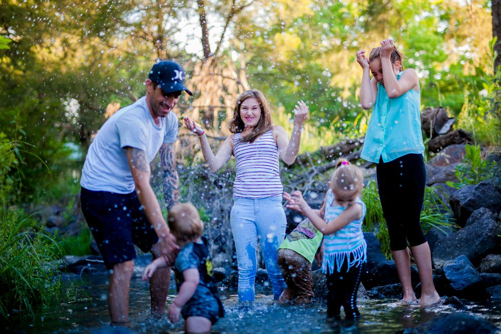 Canberra Family Splashing Water