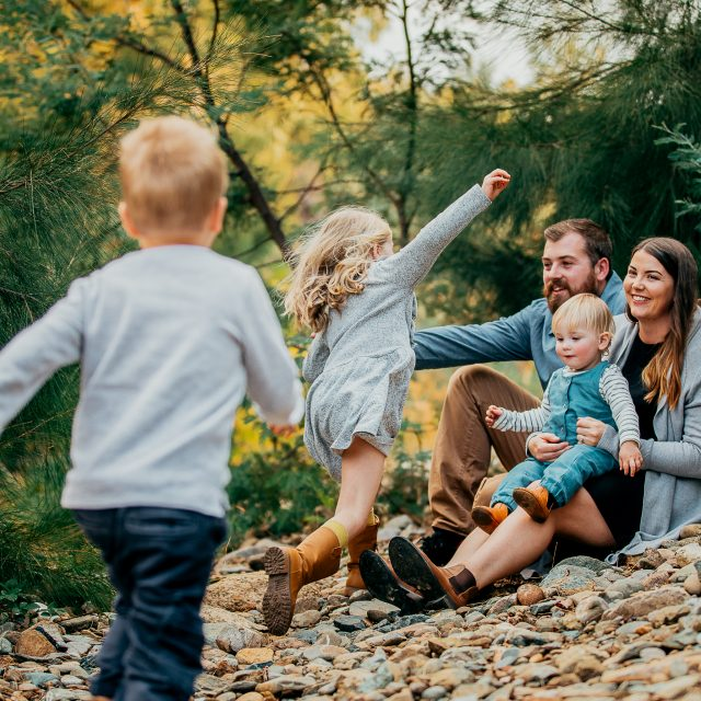Family Session of Five in the River